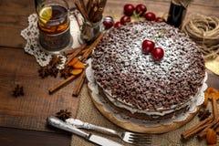 Homemade chocolate pie Stock Photo
