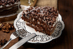 Homemade chocolate pie Stock Photos