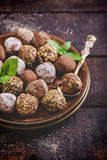 Homemade chocolate pralines Royalty Free Stock Images