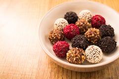 Homemade chocolate pralines. homemade chocolate truffle Royalty Free Stock Photos