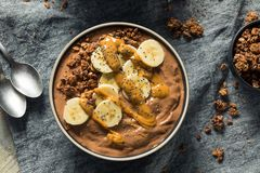Homemade Chocolate Smoothie Bowl stock images