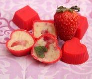 Homemade chocolate. Some homemade white chocolate with strawberries Stock Photos