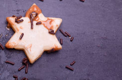 Homemade chocolate star coockies Stock Photo