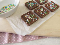 Homemade chocolate with sugar pearls Royalty Free Stock Photography