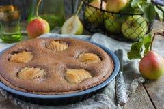 Homemade chocolate tart with frangipane and pears Royalty Free Stock Image