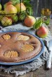 Homemade chocolate tart with frangipane and pears Royalty Free Stock Photos