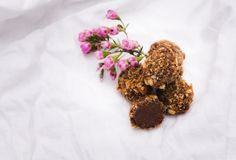Homemade chocolate truffles . Handmade sweets. stock photography