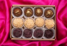 Homemade chocolate truffles . Handmade sweets. royalty free stock image
