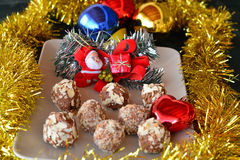 Homemade chocolate truffles with nuts Christmas dessert Royalty Free Stock Photos