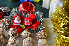 Homemade chocolate truffles with nuts Christmas dessert Royalty Free Stock Images
