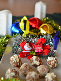 Homemade chocolate truffles with nuts Christmas dessert Royalty Free Stock Image