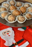 Homemade chocolate truffles with nuts Christmas dessert Royalty Free Stock Photo