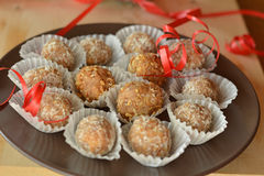 Homemade chocolate truffles with nuts Christmas dessert Stock Image