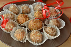 Homemade chocolate truffles with nuts Christmas dessert Stock Photos
