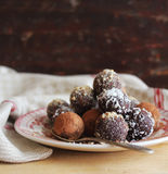 Homemade chocolate truffles with nuts Stock Photos