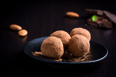 Homemade chocolate truffles on a plate Stock Image