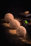 Homemade chocolate truffles on a plate Stock Photo