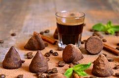 Homemade chocolate vanilla and coffee truffles. Royalty Free Stock Photo