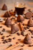 Homemade chocolate vanilla and coffee truffles. Stock Image