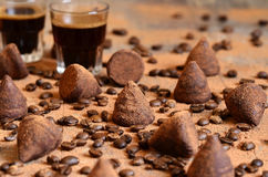 Homemade chocolate vanilla and coffee truffles. Royalty Free Stock Image