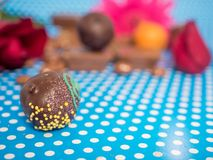 Homemade chocolates on blue background Royalty Free Stock Photo
