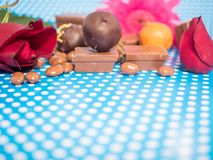 Homemade chocolates on blue background Royalty Free Stock Image