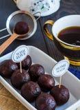 Homemade chocolates truffle ball, dessert Stock Photos