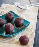 Homemade chocolates truffle ball, dessert Stock Photography