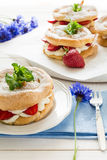 Homemade choux pastry rings with cottage cheese cream and strawberries decorated mint leaves Stock Photography