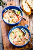 Homemade chowder with shrimps Royalty Free Stock Image