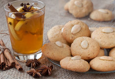 Homemade christmas almond cookies with tea Stock Images