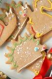 Homemade christmas animal-shaped cookies Stock Images