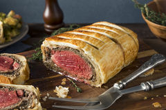 Homemade Christmas Beef Wellington. With a Pastry Crust Stock Images