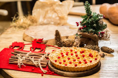 Homemade christmas cake with wild berries. Royalty Free Stock Image