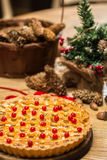 Homemade christmas cake with wild berries. Royalty Free Stock Photos