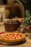 Homemade christmas cake with wild berries. Stock Image