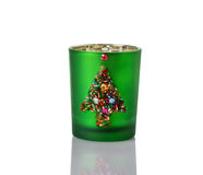 Homemade Christmas Candle Holder on White Royalty Free Stock Photography