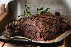 Homemade christmas chocolate yule log Royalty Free Stock Photo