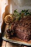 Homemade christmas chocolate yule log Stock Photo