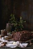 Homemade christmas chocolate yule log Royalty Free Stock Photography