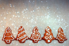 Homemade Christmas cookie trees with decoration Royalty Free Stock Photography