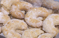 Homemade christmas cookies. Some homemade christmas cookies as a closeup image, vanilla kipferl Stock Images