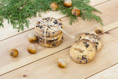 Homemade Christmas cookies with chocolate, nuts, cones, cinnamon and green arborvitae branch on a wooden table Stock Photography