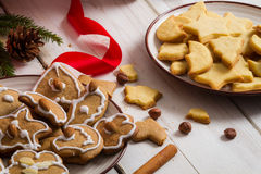 Homemade Christmas cookies with nuts Stock Image