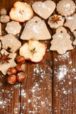 Homemade christmas cookies and spice Royalty Free Stock Photography