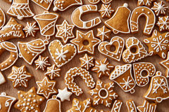 Homemade christmas cookies on table Royalty Free Stock Images