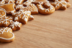 Homemade christmas cookies on table. Homemade christmas cookies on wooden table Royalty Free Stock Photos