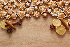 Homemade christmas cookies on table. Homemade christmas cookies on wooden table Stock Photography