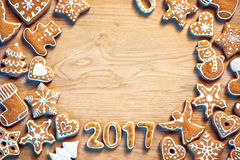Homemade Christmas cookies on wooden background Stock Images