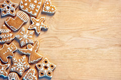 Homemade Christmas cookies on wooden background. Copy space for your text Stock Image